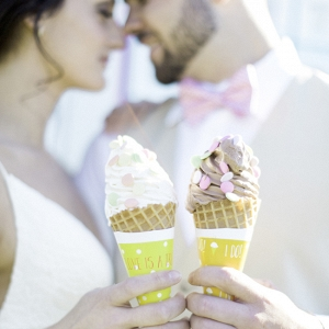 Bride & Groom with Ice Cream