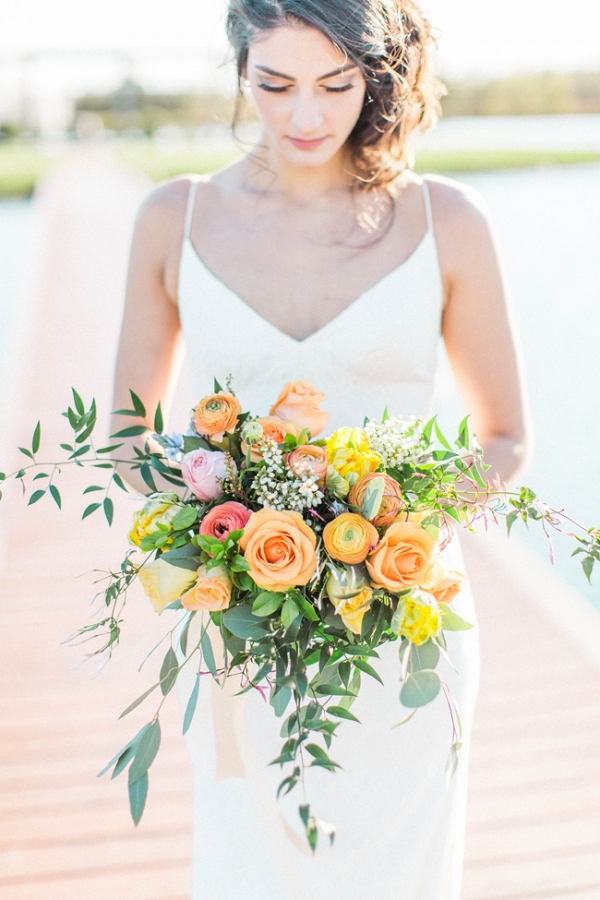 Bride with Gorgeous Yellow Bridal Bouquet