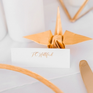 Gold Paper Crane Name Card