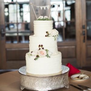 White & Blush Tiered Wedding Cake