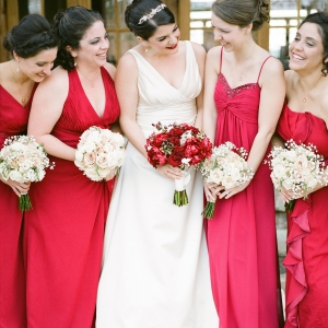 Bride With Bridesmaids In Red