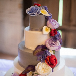 Colorful Flowers on Three Tiered Cake
