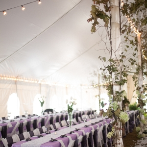 Long Reception Tables & Garland Decor