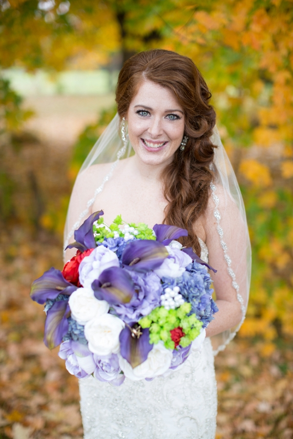 Beautiful Bride with Colorful Bouquet