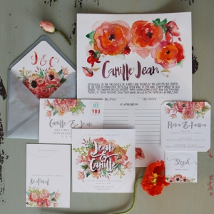 Colorful Floral Wedding Invitation Suite