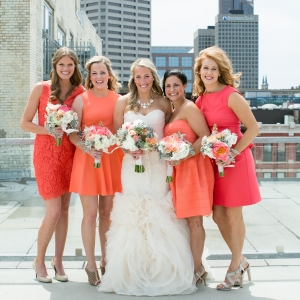 Coral And Orange Bridesmaids Dresses