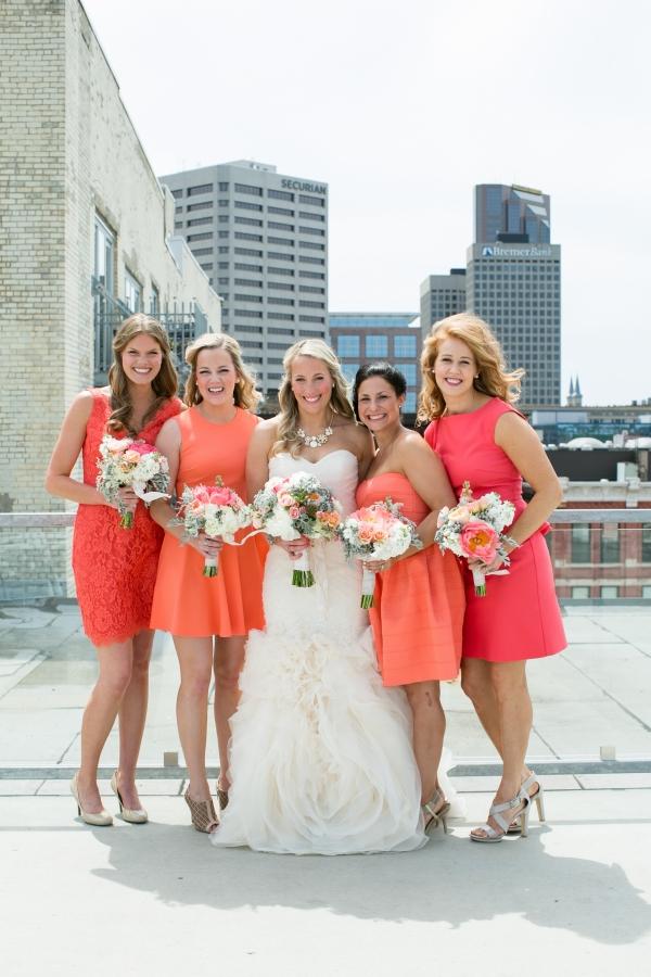 Coral And Orange Bridesmaids Dresses