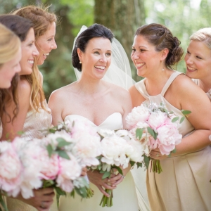 Bride With Bridesmaids In Neutral Dresses