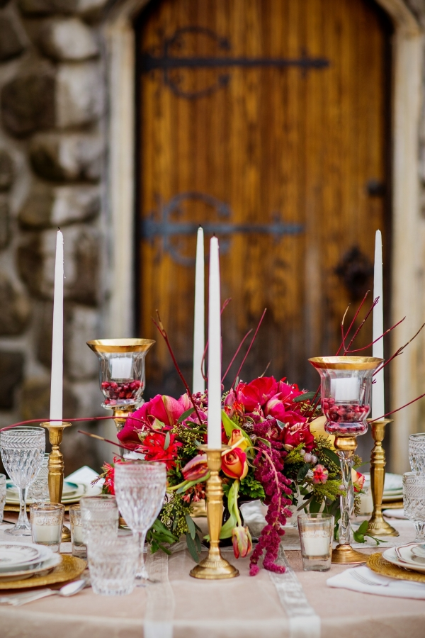 Taper Candles On Gold Candlesticks