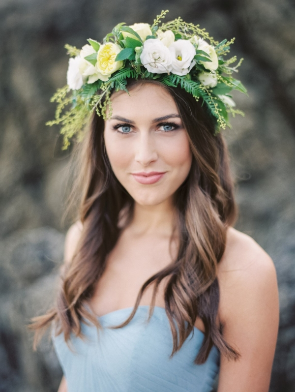 Lovely Green, White, And Yellow Floral Crown