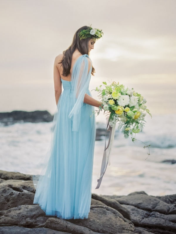 Back View Of Blue Bridal Gown