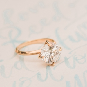 Gold and diamond Susie Saltzman engagement ring