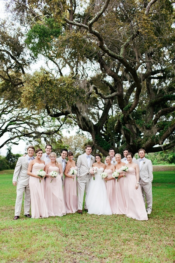 Blush and neutral wedding party