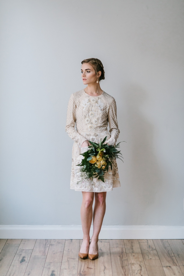 Lovely gold and cream long sleeve dress