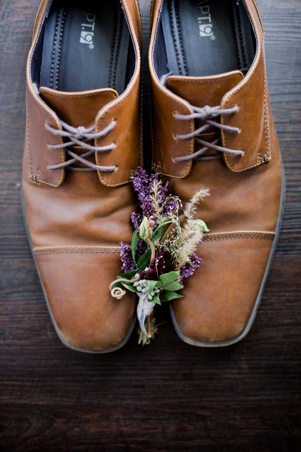 Brown Groom Shoes with Boutonniere