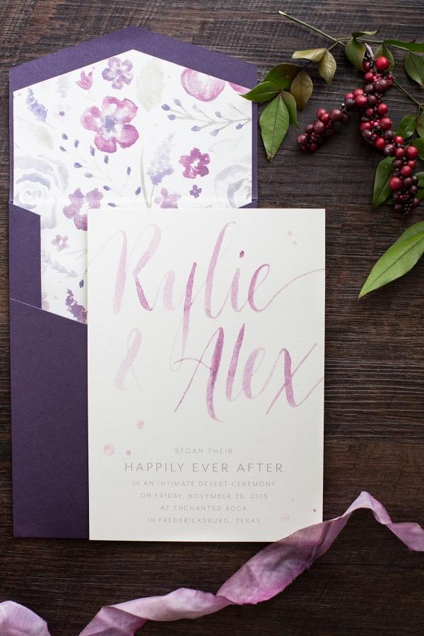 Pretty Lavender & Purple Wedding Invitations