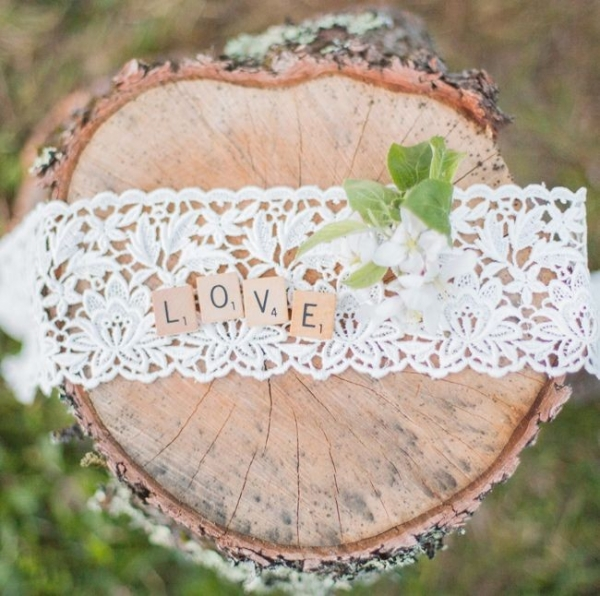 Lace with scrabble letters spelling out love
