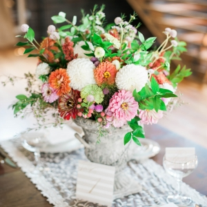 Colorful centerpiece and vintage table setup