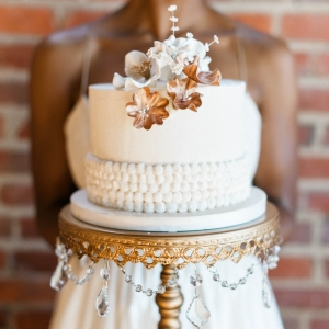 Gold and ivory vintage style wedding cake