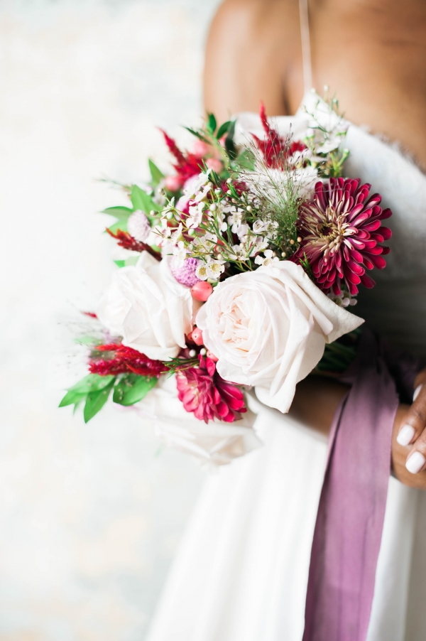 Colorful bouquet in vintage styled shoot