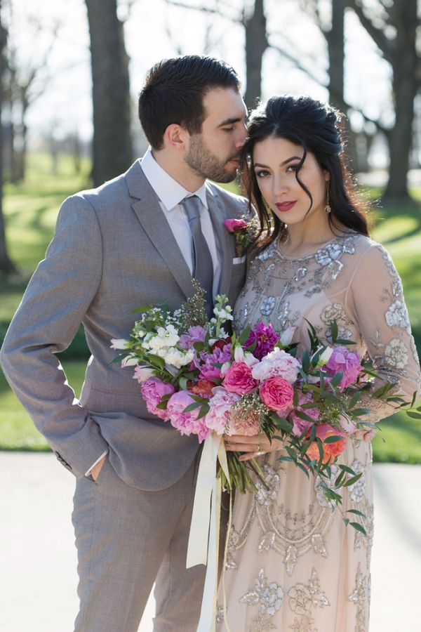 Bride & Groom with Colorful Bouquet