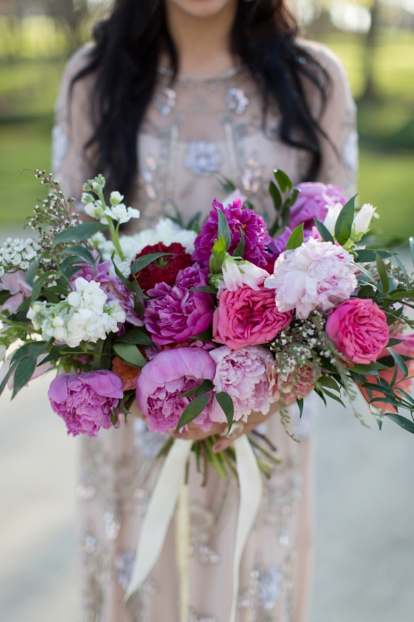 Colorful and Unstructured Wedding Bouquet