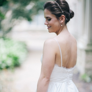 Lovely Bride in a Spaghetti Strap Gown