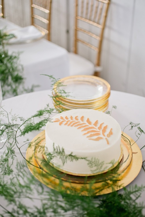 Gold leaf design on cake
