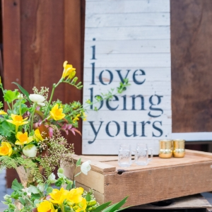 """I Love Being Yours"" White Painted Wood Pallet Sign"
