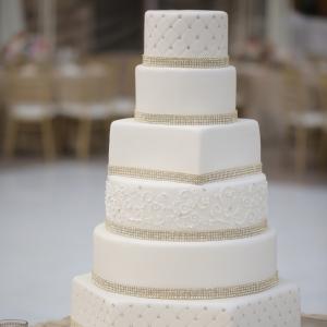 Clean and elegant white wedding cake