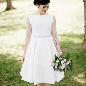 Perfect knee length wedding dress