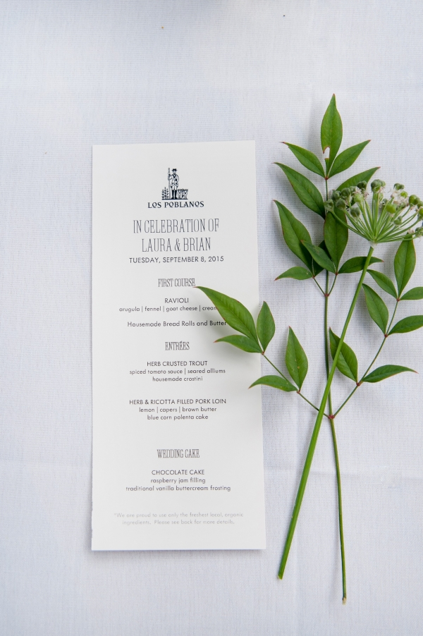 Intimate wedding menu