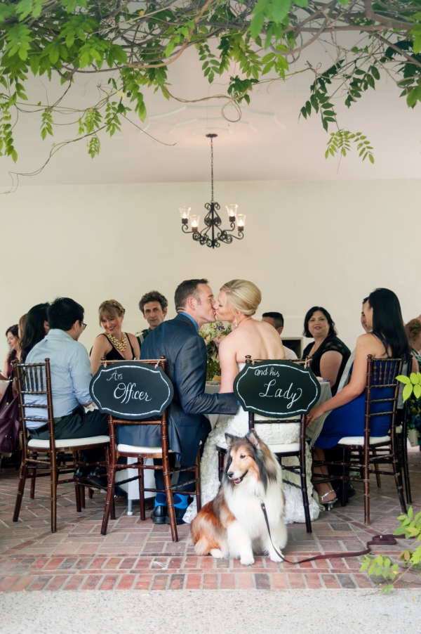 Cute wedding signs with couples dog