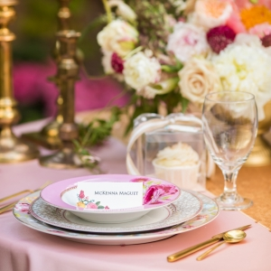 Pink Floral China Place Setting