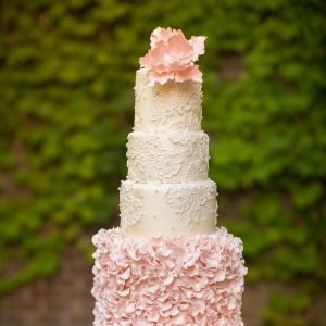 Blush Ruffled Tiered Wedding Cake