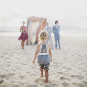 Cute Flower Girl on Beach