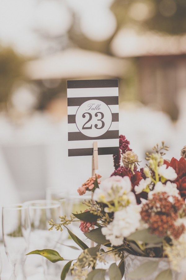 Black and white striped table numbers