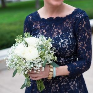 Navy Blue Lace Bridesmaids Dress