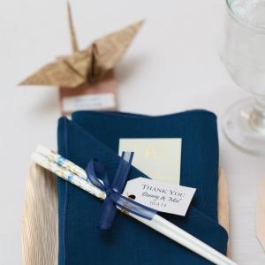 Navy Blue Napkin With Chopstick Favor