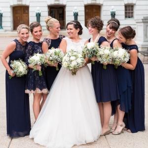 Navy Mismatched Bridesmaids Dresses