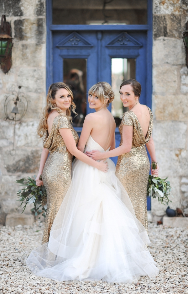 Pretty tulle gown and gold sequins dresses