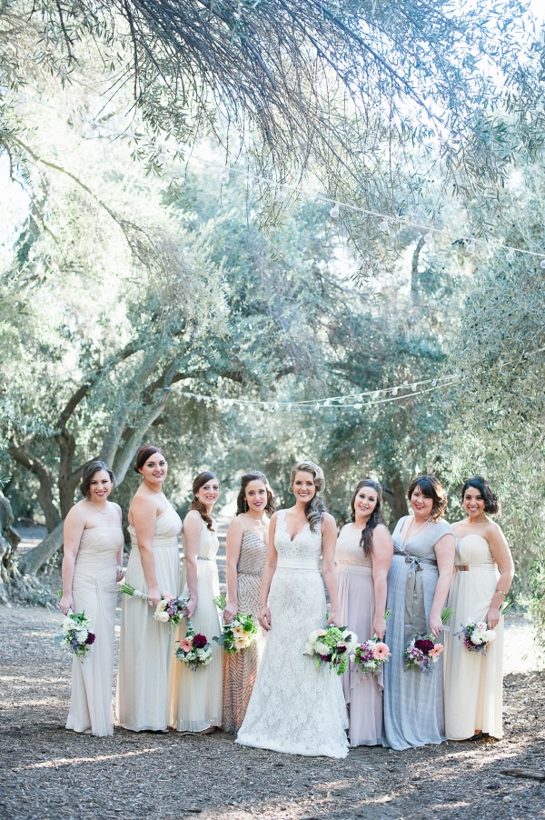 Beautiful neutral bridesmaids