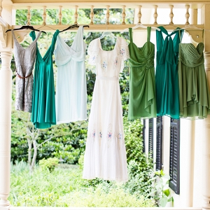 Bride & Bridesmaids Dresses Hanging