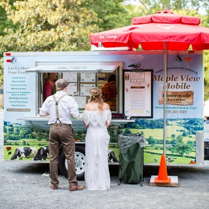 Bride & Groom in Front of Ice Cream Truck