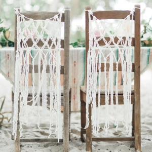 Bohemian style macrame hanging on chairs