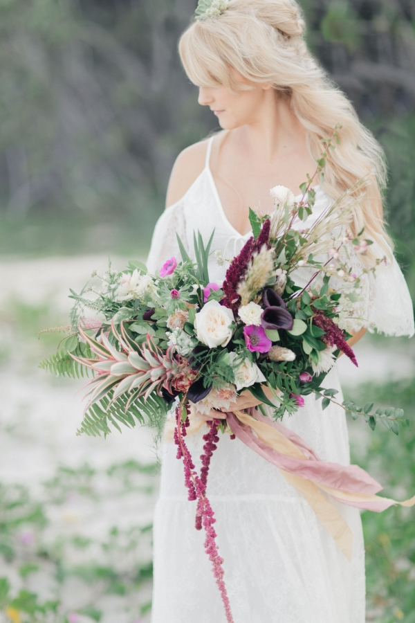 Burgundy, green, and gold bohemian bouquet