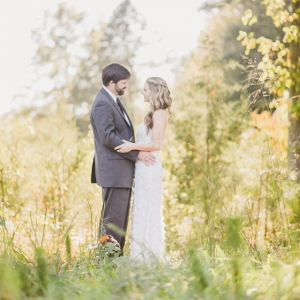Bride & Groom in Woods
