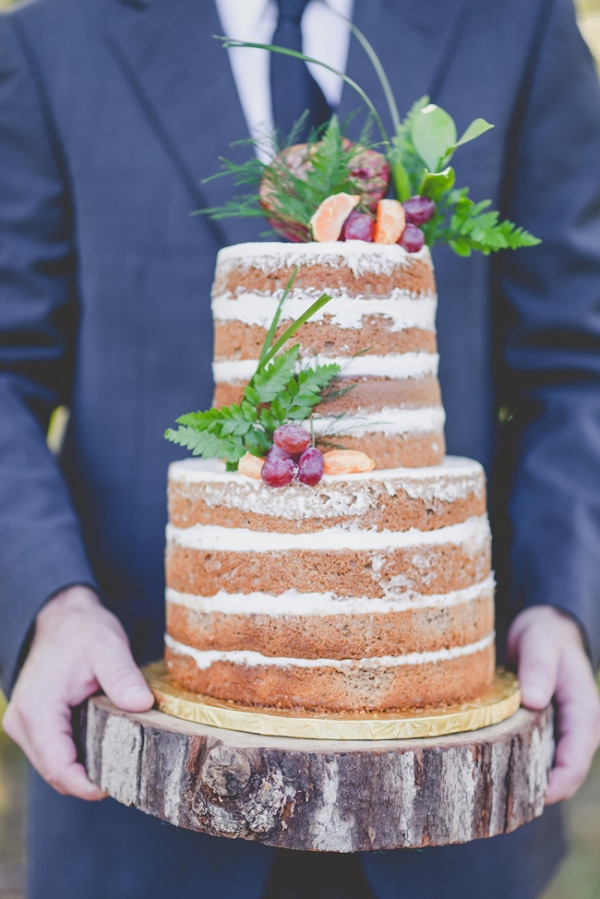 Groom with Pretty Naked Cake