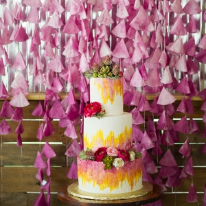 DIY Coffee Filter Backdrop & Ombre Cake
