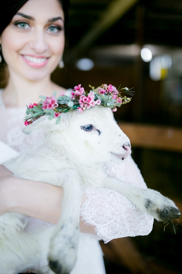 Baby Lamb with Floral Crown